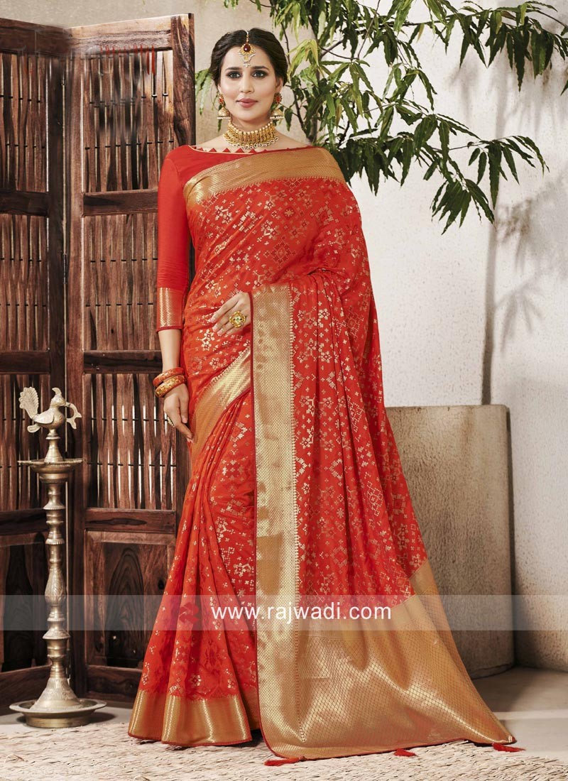 Banarasi Silk Wedding Designer Saree In Orange