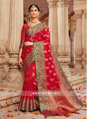 Banarasi Silk Wedding Designer Saree In Red