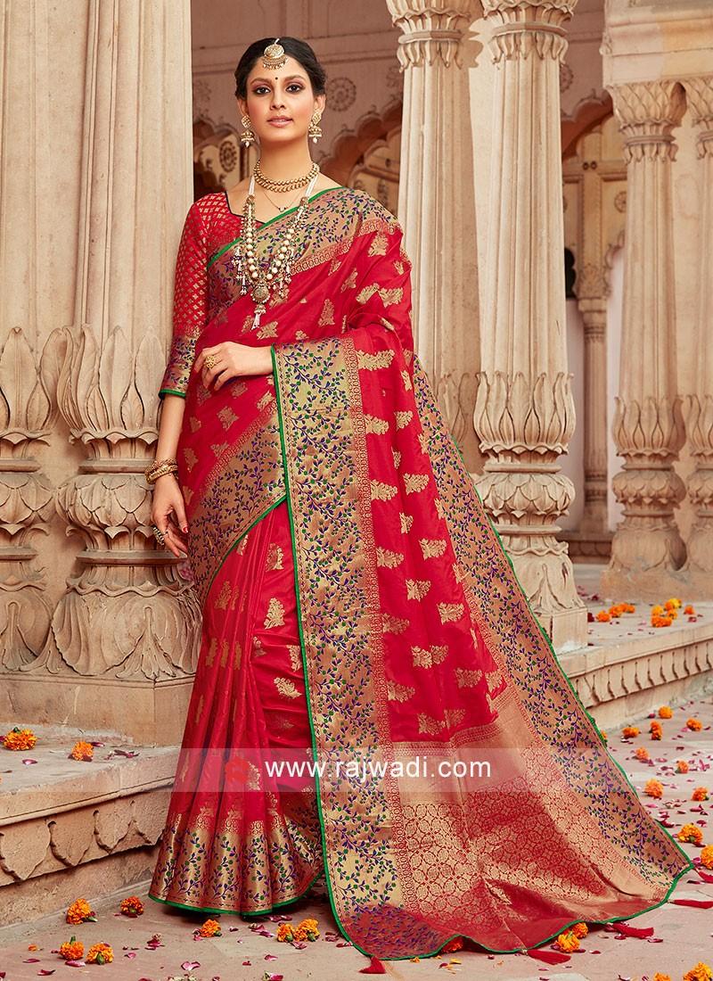 Banarasi Silk Wedding Designer Saree In Red