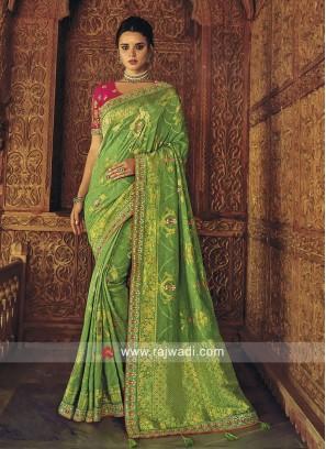 Banarasi Silk Wedding Saree in Pista Green