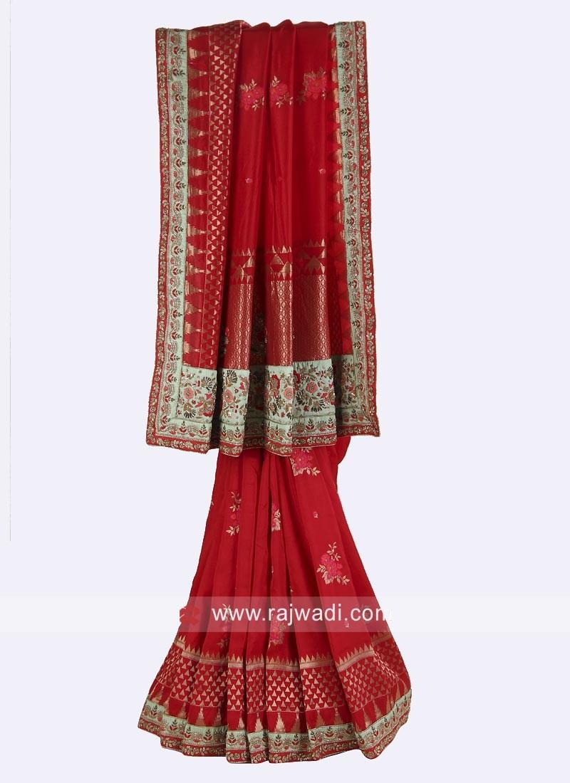 Banarasi Silk Wedding Saree with Border