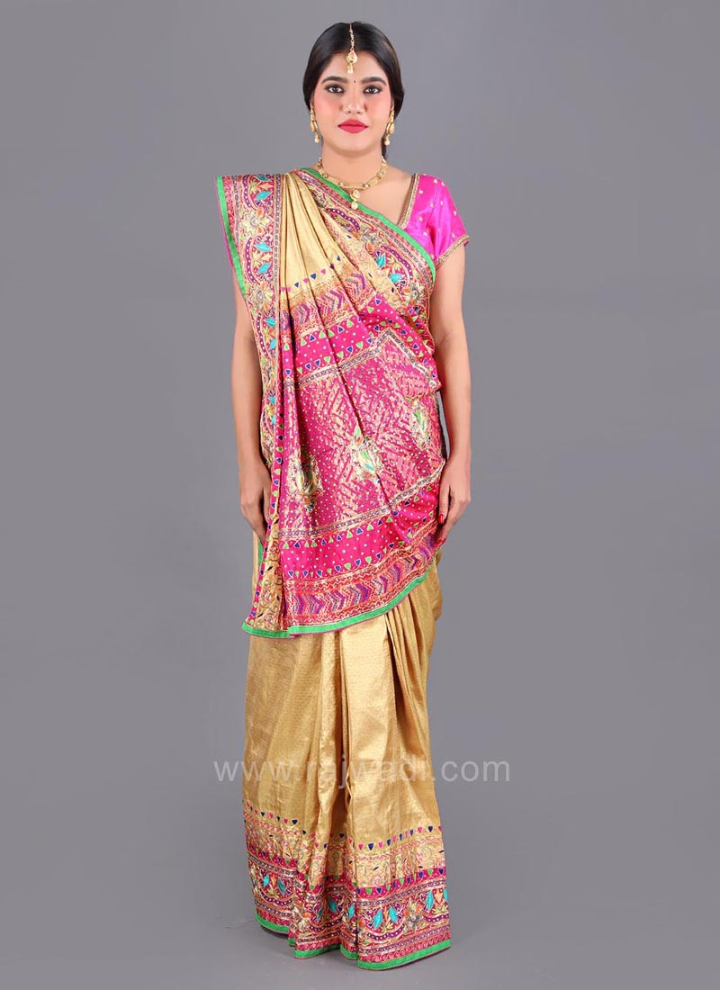Banarasi Silk Wedding Saree with Multicolor Border
