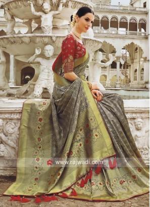 Banarasi Silk Wedding Saree with Tassels