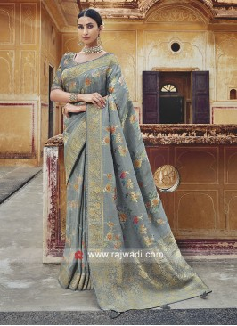 Banarasi Silk Wedding Saree with Tassels