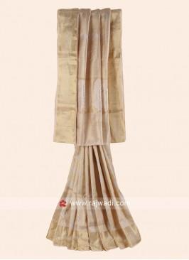Banarasi Silk Woven Saree in Golden Cream