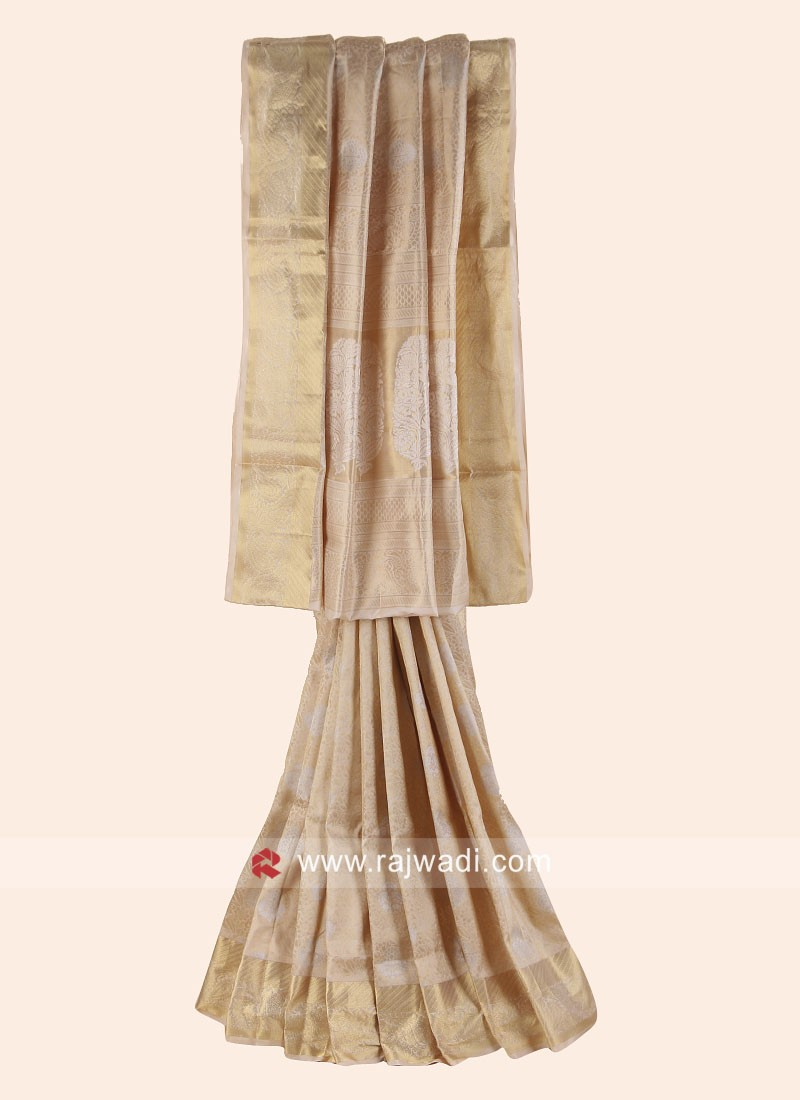 Banarasi Silk Woven Saree in Golden Cream