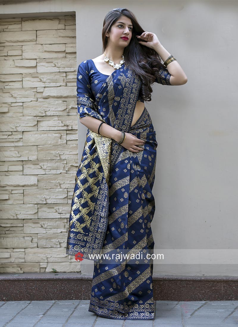 Banarasi Silk Woven Saree in Navy Blue