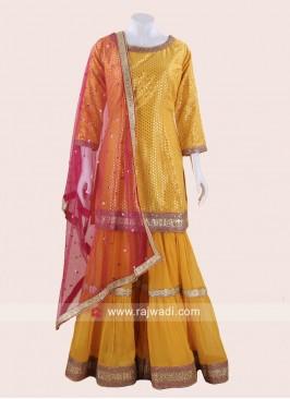 Banarasi Silk Yellow Designer Gharara Suit