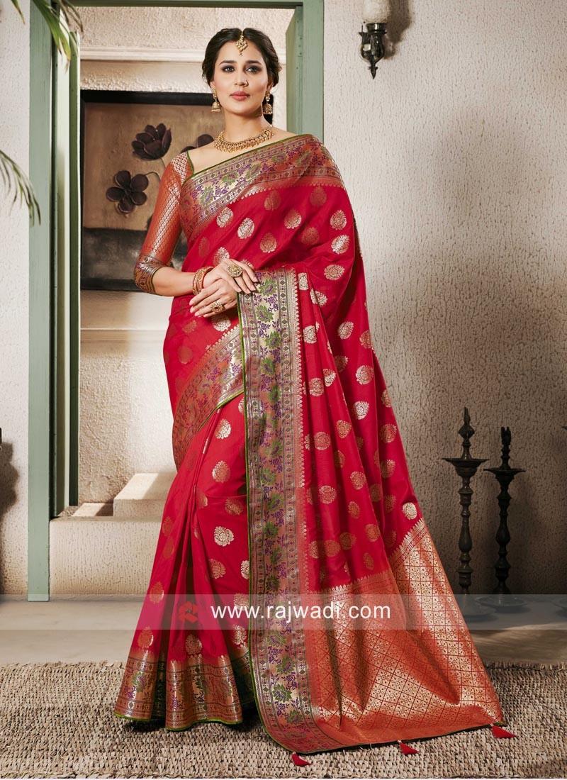 Banarasi Silk Zari Woven Saree For Sangeet