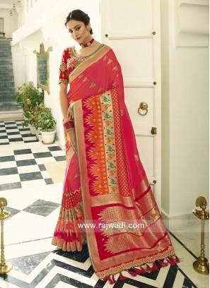 Banasari Crimson Silk saree with red blouse piece.