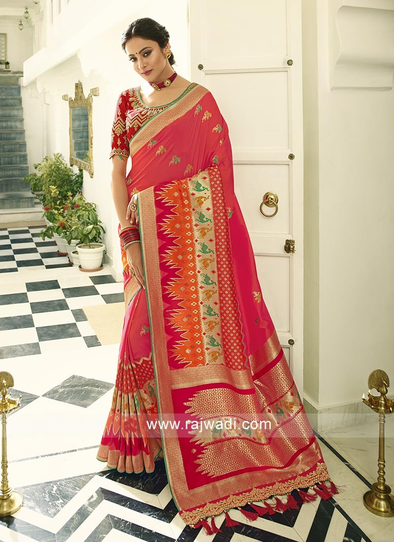 Banasari Crimson Silk saree with red blouse piece.