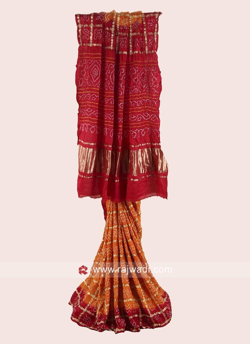 Bandhani Gajji Silk Checks Saree