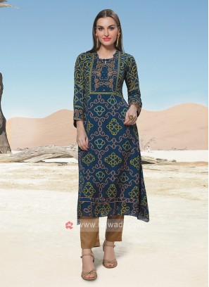 Bandhani Kurti In Dark Blue Color