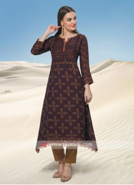 Bandhani Kurti In Wine Color