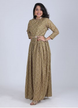 Bandhani Printed Jumpsuit In Mehndi Green Color