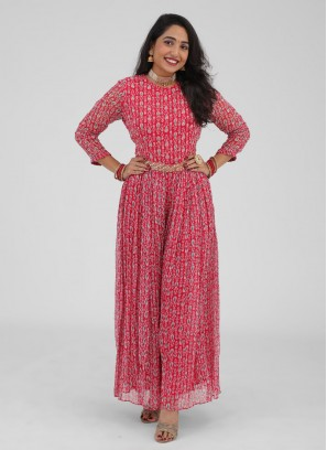 Printed Jumpsuit In Red Color