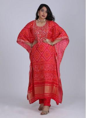 Bandhani Printed Kaftan Style Kurti Set