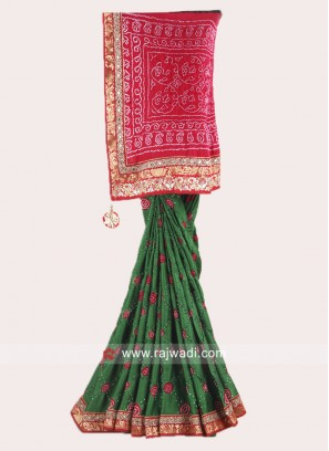 Bandhani Red and Green Saree