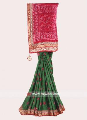 Bandhani Red and Green Saree