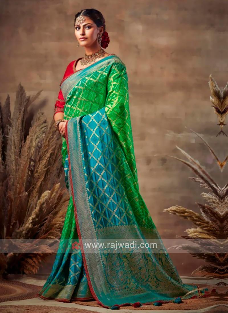 Bandhani Saree In Green & Blue