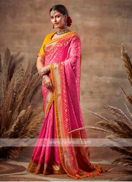 Bandhani Saree In Pink Color