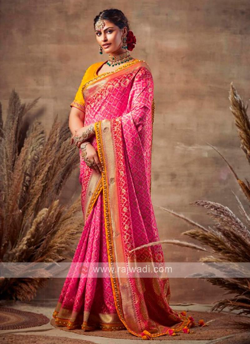Bandhani Saree In Pink Color
