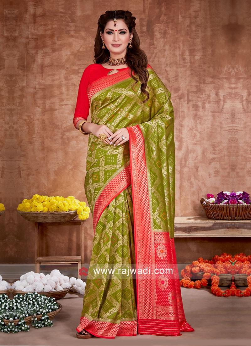 Bandhani Work Mehndi Green And Red Saree