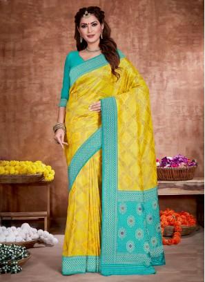 Bandhani Work Yellow And Sky Blue Color Banarasi Silk Saree