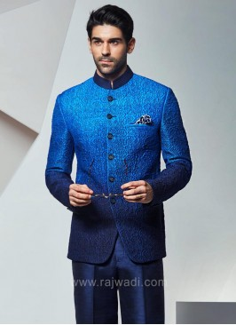 Bandhgala Jodhpuri Suit in Navy Blue