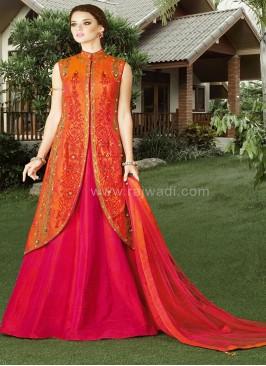 Bandhgala Lehenga Style Dress Material