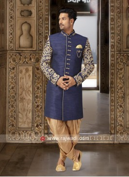Brocade Fabric Blue Indo Western