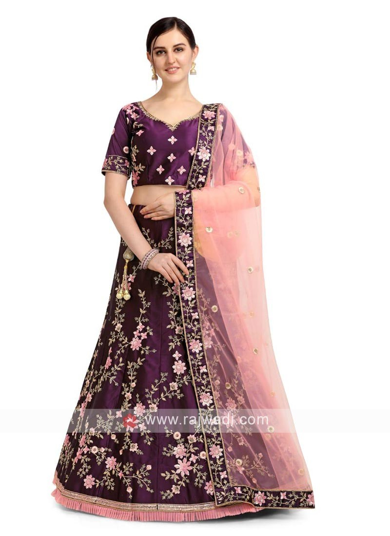Banglori Silk Lehenga Choli In Purple