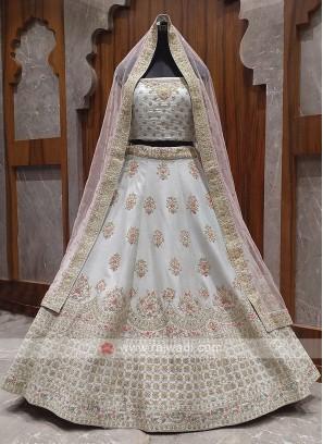 beautiful grey color bridal lehenga choli