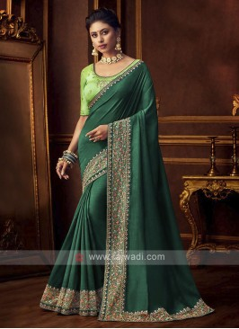 Beautiful Art Silk Green Saree