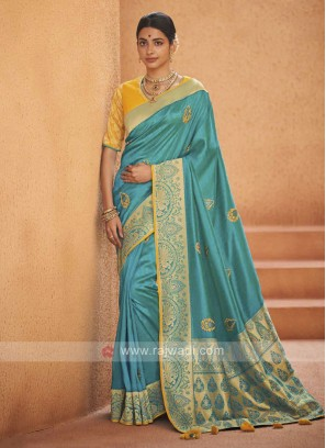 Beautiful Art Silk Sky Blue Saree