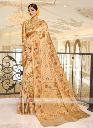 Beautiful Beige Banarasi Silk Saree