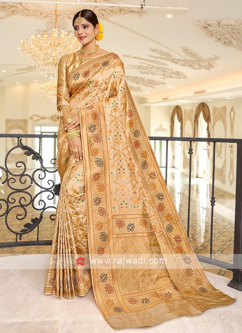Beautiful Beige Banarasi Silk Saree