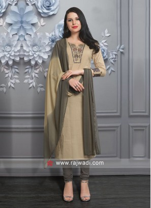 Beautiful Beige Color Churidar Suit