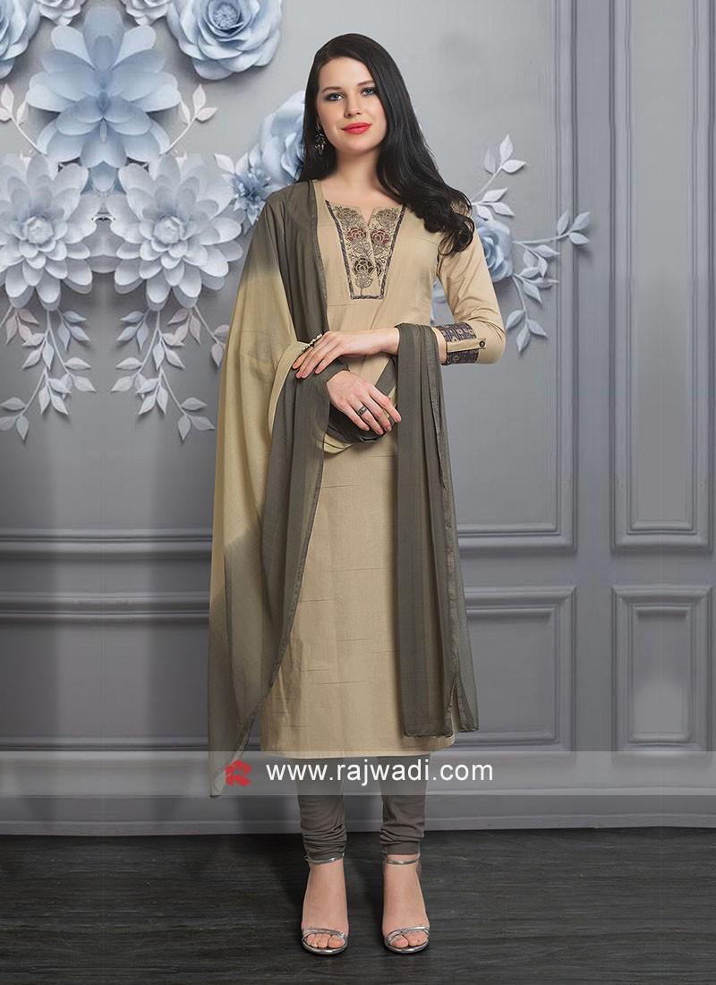 Beautiful Beige Color Churidar Suit