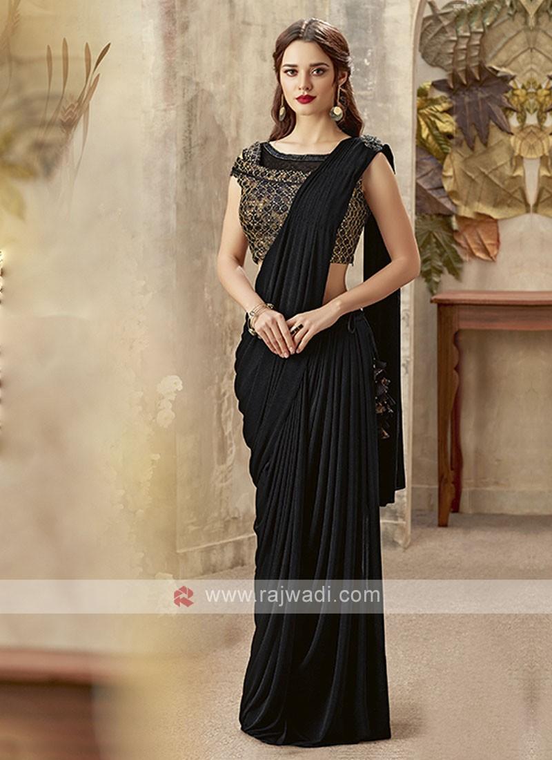 beautiful black color saree