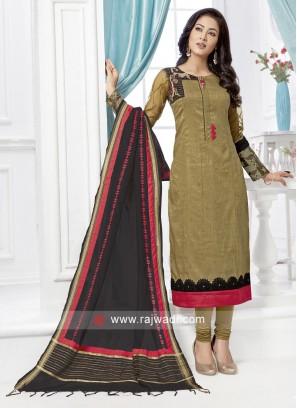 Cotton Silk Straight Fit Churidar Suit