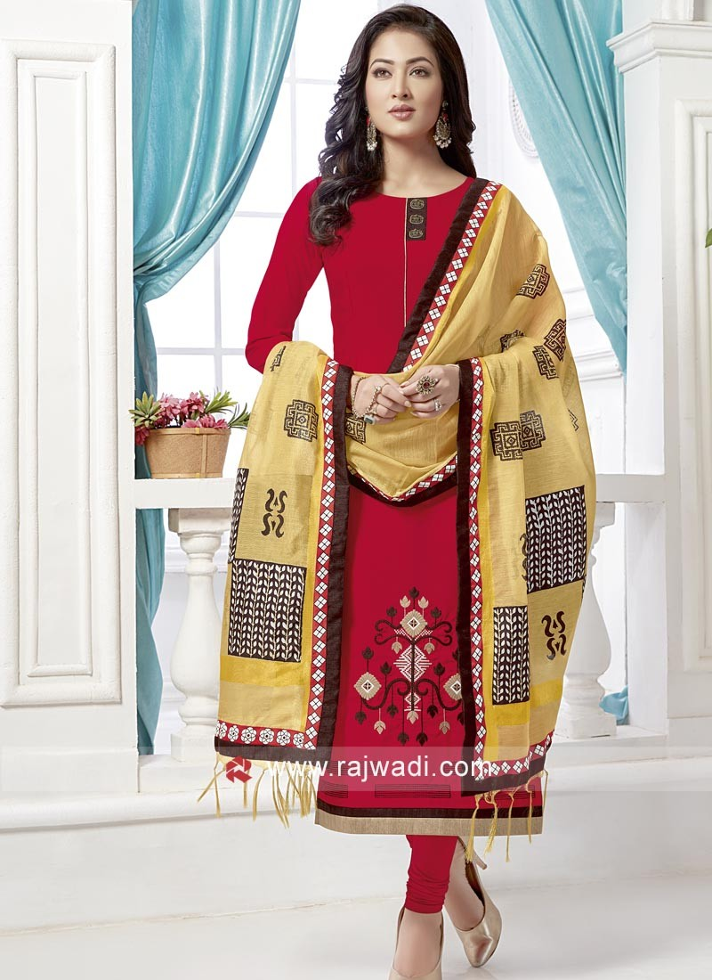 Red Salwar Kameez with Broach