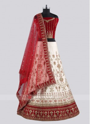 Beautiful Cream And Red Lehenga Choli