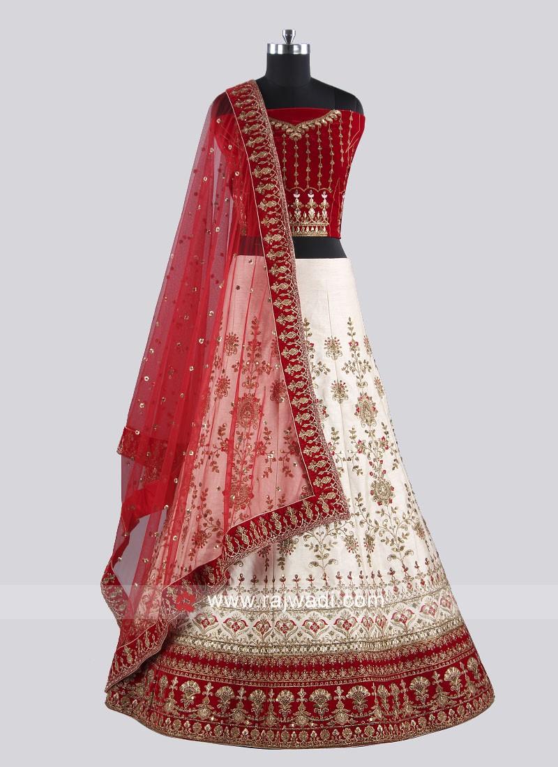 Beautiful Cream And Red Lehenga Choli
