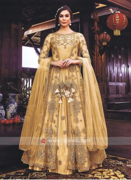 Beautiful Cream Jacket Style Salwar Kameez