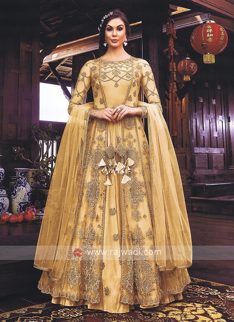 Beautiful Cream Jacket Style Salwar Kameez