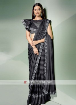 Beautiful dark grey saree