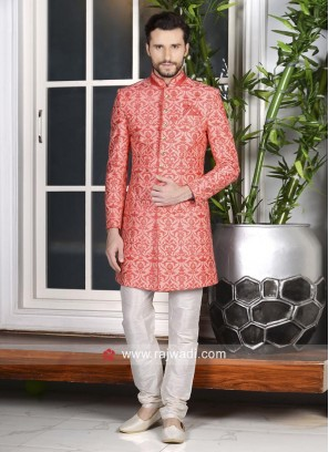Beautiful Dark Peach Mens Indo Western