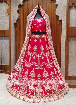 beautiful deep pink color bridal lehenga choli