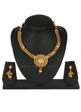 Beautiful Designer Golden coloured Necklace Set